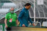 17 September 2020; Zlatan Ibrahimovic of AC Milan and Eugene Coppinger during the UEFA Europa League Second Qualifying Round match between Shamrock Rovers and AC Milan at Tallaght Stadium in Dublin. Photo by Stephen McCarthy/Sportsfile