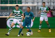 17 September 2020; Ismaël Bennacer of AC Milan in action against Gary O'Neill of Shamrock Rovers during the UEFA Europa League Second Qualifying Round match between Shamrock Rovers and AC Milan at Tallaght Stadium in Dublin. Photo by Stephen McCarthy/Sportsfile