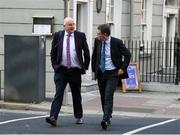 18 September 2020; Uachtarán Chumann Lúthchleas Gael John Horan, left, and Ard Stiúrthóir of the GAA Tom Ryan on arrival at Dáil Éireann in Dublin where representatives from the FAI, GAA & IRFU sporting bodies are to make a collaborative proposal to Government on a roadmap for the safe return of supporters to stadia in Ireland. Photo by Stephen McCarthy/Sportsfile