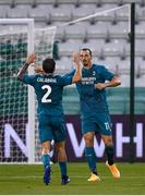 17 September 2020; Zlatan Ibrahimovic of AC Milan celebrates with team-mate Davide Calabria after scoring his side's first goal during the UEFA Europa League Second Qualifying Round match between Shamrock Rovers and AC Milan at Tallaght Stadium in Dublin. Photo by Stephen McCarthy/Sportsfile
