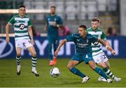 17 September 2020; Ismaël Bennacer of AC Milan in action against Jack Byrne of Shamrock Rovers during the UEFA Europa League Second Qualifying Round match between Shamrock Rovers and AC Milan at Tallaght Stadium in Dublin. Photo by Stephen McCarthy/Sportsfile