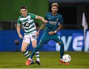 17 September 2020; Samuel Castillejo of AC Milan in action against Gary O'Neill of Shamrock Rovers during the UEFA Europa League Second Qualifying Round match between Shamrock Rovers and AC Milan at Tallaght Stadium in Dublin. Photo by Stephen McCarthy/Sportsfile