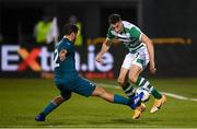 17 September 2020; Neil Farrugia of Shamrock Rovers in action against Davide Calabria of AC Milan during the UEFA Europa League Second Qualifying Round match between Shamrock Rovers and AC Milan at Tallaght Stadium in Dublin. Photo by Stephen McCarthy/Sportsfile