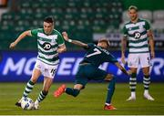 17 September 2020; Gary O'Neill of Shamrock Rovers in action against Samuel Castillejo of AC Milan during the UEFA Europa League Second Qualifying Round match between Shamrock Rovers and AC Milan at Tallaght Stadium in Dublin. Photo by Stephen McCarthy/Sportsfile