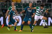 17 September 2020; Roberto Lopes of Shamrock Rovers in action against Zlatan Ibrahimovic of AC Milan during the UEFA Europa League Second Qualifying Round match between Shamrock Rovers and AC Milan at Tallaght Stadium in Dublin. Photo by Stephen McCarthy/Sportsfile
