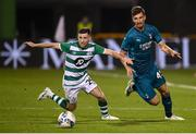 17 September 2020; Jack Byrne of Shamrock Rovers in action against Matteo Gabbia of AC Milan during the UEFA Europa League Second Qualifying Round match between Shamrock Rovers and AC Milan at Tallaght Stadium in Dublin. Photo by Stephen McCarthy/Sportsfile