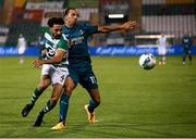 17 September 2020; Zlatan Ibrahimovic of AC Milan in action against Roberto Lopes of Shamrock Rovers during the UEFA Europa League Second Qualifying Round match between Shamrock Rovers and AC Milan at Tallaght Stadium in Dublin. Photo by Stephen McCarthy/Sportsfile
