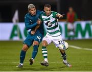 17 September 2020; Graham Burke of Shamrock Rovers in action against Theo Hernández of AC Milan during the UEFA Europa League Second Qualifying Round match between Shamrock Rovers and AC Milan at Tallaght Stadium in Dublin. Photo by Stephen McCarthy/Sportsfile