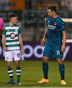 17 September 2020; Dean Williams of Shamrock Rovers and Zlatan Ibrahimovic of AC Milan during the UEFA Europa League Second Qualifying Round match between Shamrock Rovers and AC Milan at Tallaght Stadium in Dublin. Photo by Stephen McCarthy/Sportsfile