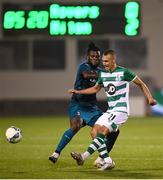 17 September 2020; Graham Burke of Shamrock Rovers in action against Franck Kessie of AC Milan during the UEFA Europa League Second Qualifying Round match between Shamrock Rovers and AC Milan at Tallaght Stadium in Dublin. Photo by Stephen McCarthy/Sportsfile