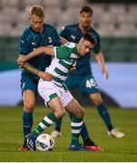 17 September 2020; Dean Williams of Shamrock Rovers in action against Simon Kjær of AC Milan during the UEFA Europa League Second Qualifying Round match between Shamrock Rovers and AC Milan at Tallaght Stadium in Dublin. Photo by Stephen McCarthy/Sportsfile