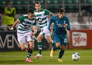 17 September 2020; Brahim Díaz of AC Milan in action against Aaron McEneff of Shamrock Rovers during the UEFA Europa League Second Qualifying Round match between Shamrock Rovers and AC Milan at Tallaght Stadium in Dublin. Photo by Stephen McCarthy/Sportsfile