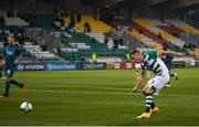 17 September 2020; Aaron Greene of Shamrock Rovers has a shot on goal during the UEFA Europa League Second Qualifying Round match between Shamrock Rovers and AC Milan at Tallaght Stadium in Dublin. Photo by Stephen McCarthy/Sportsfile