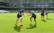18 September 2020; Jack Conan, left, and Hugo Keenan during the Leinster Rugby captains run at the Aviva Stadium in Dublin. Photo by Ramsey Cardy/Sportsfile