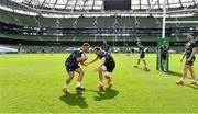 18 September 2020; Ed Byrne, left, and Jack Conan during the Leinster Rugby captains run at the Aviva Stadium in Dublin. Photo by Ramsey Cardy/Sportsfile