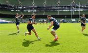18 September 2020; Hugo Keenan, left, and Jack Conan during the Leinster Rugby captains run at the Aviva Stadium in Dublin. Photo by Ramsey Cardy/Sportsfile
