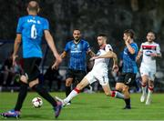 17 September 2020; Michael Duffy of Dundalk in action against Sergi Moreno and Albert Reyes of Inter Escaldes during the UEFA Europa League Second Qualifying Round match between Inter Escaldes and Dundalk at Estadi Comunal d'Andorra la Vella in Andorra. Photo by Manuel Blondeau/Sportsfile