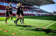 18 September 2020; Megan Connolly and Aine O'Gorman during a Republic of Ireland women's training session at Stadion Essen in Essen, Germany. Photo by Lukas Schulze/Sportsfile
