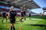 18 September 2020; Katie McCabe and Heather Payne, right, during a Republic of Ireland women's training session at Stadion Essen in Essen, Germany. Photo by Lukas Schulze/Sportsfile