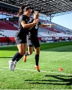 18 September 2020; Niamh Farrelly and Katie McCabe, right, during a Republic of Ireland women's training session at Stadion Essen in Essen, Germany. Photo by Lukas Schulze/Sportsfile