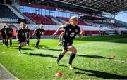 18 September 2020; Ellen Molloy warms up during a Republic of Ireland women's training session at Stadion Essen in Essen, Germany. Photo by Lukas Schulze/Sportsfile