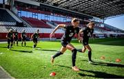 18 September 2020; Hayley Nolan, left, and Jamie Finn warms up during a Republic of Ireland women's training session at Stadion Essen in Essen, Germany. Photo by Lukas Schulze/Sportsfile