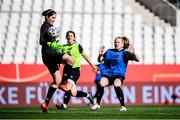 18 September 2020; Amber Barrett challenges for the ball with goalkeeper Marie Hourihan, left, during a Republic of Ireland women's training session at Stadion Essen in Essen, Germany. Photo by Lukas Schulze/Sportsfile