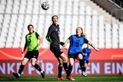 18 September 2020; Amber Barrett, right, challenges for the ball with goalkeeper Marie Hourihan during a Republic of Ireland women's training session at Stadion Essen in Essen, Germany. Photo by Lukas Schulze/Sportsfile