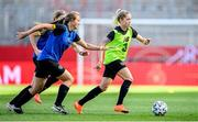 18 September 2020; Denise O'Sullivan and Kyra Carusa, left, during a Republic of Ireland women's training session at Stadion Essen in Essen, Germany. Photo by Lukas Schulze/Sportsfile