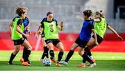 18 September 2020; Katie McCabe, centre, in action against Leanne Kiernan, left, Heather Payne, and Ruesha Littlejohn, right, during a Republic of Ireland women's training session at Stadion Essen in Essen, Germany. Photo by Lukas Schulze/Sportsfile