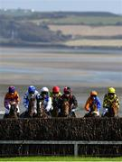 17 September 2020; Runners and riders approach the third fence during the Kilmeaden Handicap Steeplechase at Tramore Racecourse in Waterford. Photo by Harry Murphy/Sportsfile