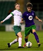 18 September 2020; Kevin Zefi of Shamrock Rovers II in action against Eoin Massey of Cabinteely during the SSE Airtricity League First Division match between Shamrock Rovers II and Cabinteely at Tallaght Stadium in Dublin. Photo by Harry Murphy/Sportsfile