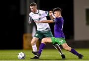 18 September 2020; Eoin Massey of Cabinteely in action against Aaron Bolger of Shamrock Rovers II during the SSE Airtricity League First Division match between Shamrock Rovers II and Cabinteely at Tallaght Stadium in Dublin. Photo by Harry Murphy/Sportsfile