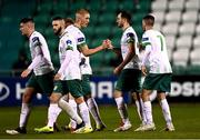 18 September 2020; Kevin Knight of Cabinteely celebrates with Jonathan Carlin and team-mates after scoring his side's first goal during the SSE Airtricity League First Division match between Shamrock Rovers II and Cabinteely at Tallaght Stadium in Dublin. Photo by Harry Murphy/Sportsfile