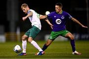 18 September 2020; Steven Kinsella of Cabinteely in action against Max Murphy of Shamrock Rovers II during the SSE Airtricity League First Division match between Shamrock Rovers II and Cabinteely at Tallaght Stadium in Dublin. Photo by Harry Murphy/Sportsfile