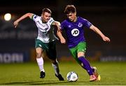 18 September 2020; Kevin Zefi of Shamrock Rovers II in action against Shane Barnes of Cabinteely during the SSE Airtricity League First Division match between Shamrock Rovers II and Cabinteely at Tallaght Stadium in Dublin. Photo by Harry Murphy/Sportsfile