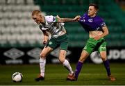 18 September 2020; Jonathan Carlin of Cabinteely in action against Andrew Byrne of Cabinteely during the SSE Airtricity League First Division match between Shamrock Rovers II and Cabinteely at Tallaght Stadium in Dublin. Photo by Harry Murphy/Sportsfile