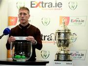 18 September 2020; Former Sligo Rovers player Conor O'Grady draws out the name of Shamrock Rovers during the draw for the Extra.ie FAI Cup quarter-finals following the SSE Airtricity League Premier Division match between Sligo Rovers and Bohemians at The Showgrounds in Sligo. Photo by Stephen McCarthy/Sportsfile