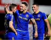 18 September 2020; Bohemians players, from left, Conor Levingston, Rob Cornwall and Dan Casey following the SSE Airtricity League Premier Division match between Sligo Rovers and Bohemians at The Showgrounds in Sligo. Photo by Stephen McCarthy/Sportsfile
