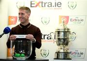 18 September 2020; Former Sligo Rovers player Conor O'Grady draws out the name of Sligo Rovers during the draw for the Extra.ie FAI Cup quarter-finals following the SSE Airtricity League Premier Division match between Sligo Rovers and Bohemians at The Showgrounds in Sligo. Photo by Stephen McCarthy/Sportsfile