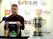 18 September 2020; Former Sligo Rovers player Conor O'Grady draws out the name of Dundalk during the draw for the Extra.ie FAI Cup quarter-finals following the SSE Airtricity League Premier Division match between Sligo Rovers and Bohemians at The Showgrounds in Sligo. Photo by Stephen McCarthy/Sportsfile