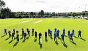 19 September 2020; Teams and officals stand for a photo ahead of the All-Ireland T20 Cup Final match between YMCA and  Donemana at CIYMS Cricket Club in Belfast. Photo by Sam Barnes/Sportsfile