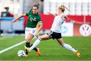 19 September 2020; Katie McCabe of Republic of Ireland in action against Giulia Gwinn of Germany during the UEFA Women's 2021 European Championships Qualifier Group I match between Germany and Republic of Ireland at Stadion Essen in Essen, Germany. Photo by Marcel Kusch/Sportsfile