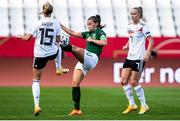 19 September 2020; Katie McCabe of Republic of Ireland in action against Giulia Gwinn, 15, of Germany during the UEFA Women's 2021 European Championships Qualifier Group I match between Germany and Republic of Ireland at Stadion Essen in Essen, Germany. Photo by Marcel Kusch/Sportsfile