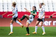19 September 2020; Katie McCabe of Republic of Ireland in action against Giulia Gwinn, left, and Lea Schüller of Germany during the UEFA Women's 2021 European Championships Qualifier Group I match between Germany and Republic of Ireland at Stadion Essen in Essen, Germany. Photo by Marcel Kusch/Sportsfile