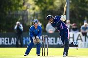 19 September 2020; Simi Singh of YMCA plays a shot watched by Billy Dougherty of Donemana during the All-Ireland T20 Cup Final match between YMCA and  Donemana at CIYMS Cricket Club in Belfast. Photo by Sam Barnes/Sportsfile