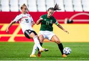 19 September 2020; Giulia Gwinn of Germany in action against Katie McCabe of Republic of Ireland during the UEFA Women's 2021 European Championships Qualifier Group I match between Germany and Republic of Ireland at Stadion Essen in Essen, Germany. Photo by Marcel Kusch/Sportsfile