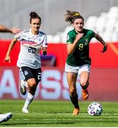 19 September 2020; Leanne Kiernan of Republic of Ireland in action against Lina Magull of Germany during the UEFA Women's 2021 European Championships Qualifier Group I match between Germany and Republic of Ireland at Stadion Essen in Essen, Germany. Photo by Marcel Kusch/Sportsfile