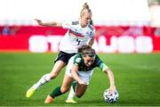 19 September 2020; Katie McCabe of Republic of Ireland is tackled by Leonie Maier of Germany during the UEFA Women's 2021 European Championships Qualifier Group I match between Germany and Republic of Ireland at Stadion Essen in Essen, Germany. Photo by Marcel Kusch/Sportsfile