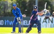 19 September 2020; Robert Gamble of YMCA is bowled by Andy McBrine of Donemana as Billy Dougherty watches on during the All-Ireland T20 Cup Final match between YMCA and  Donemana at CIYMS Cricket Club in Belfast. Photo by Sam Barnes/Sportsfile